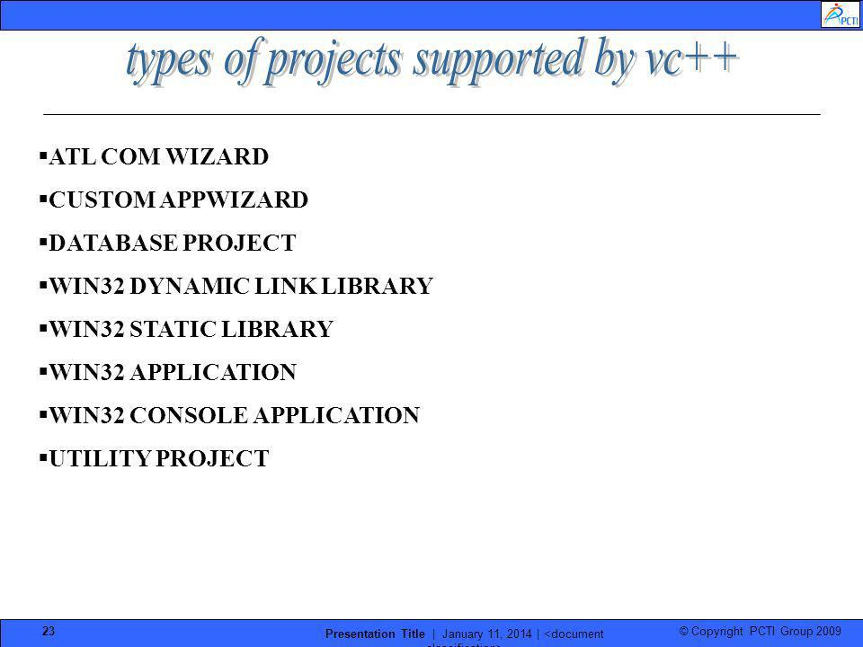 types of projects supported by vc++