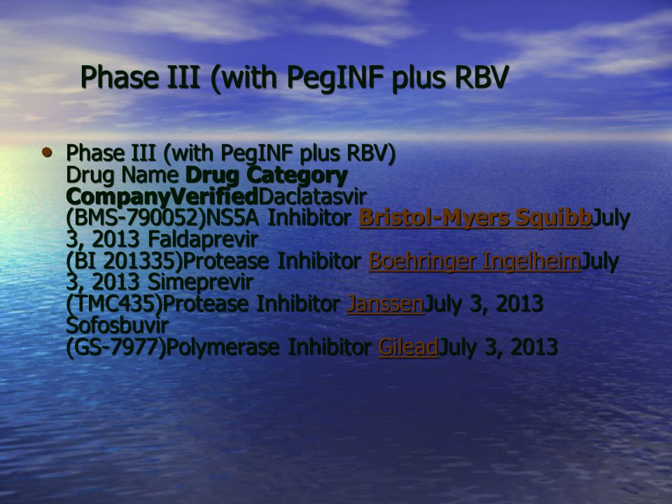 Phase III (with PegINF plus RBV
