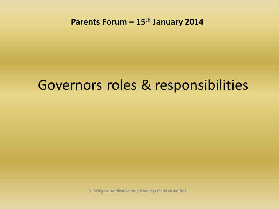 Governors roles & responsibilities