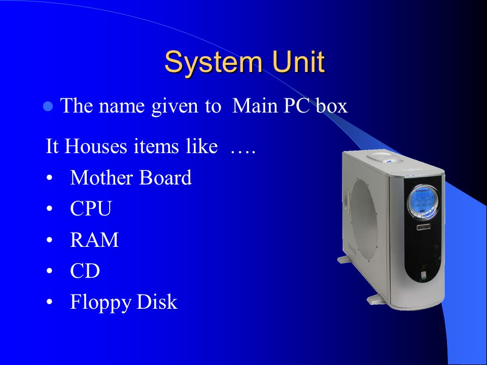 System Unit The name given to Main PC box It Houses items like ….