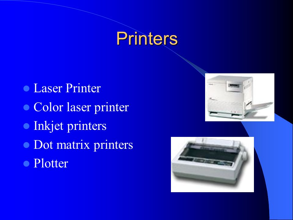 Printers Laser Printer Color laser printer Inkjet printers