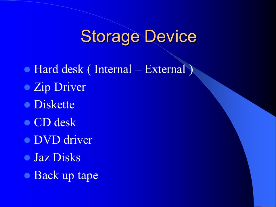 Storage Device Hard desk ( Internal – External ) Zip Driver Diskette