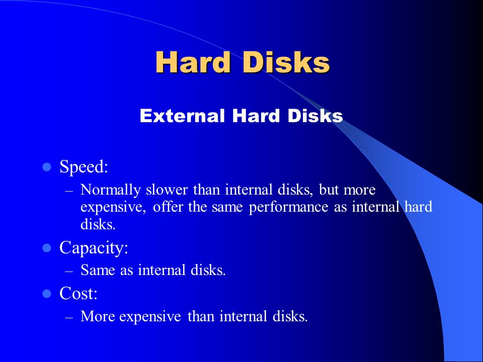 Hard Disks External Hard Disks Speed: Capacity: Cost: