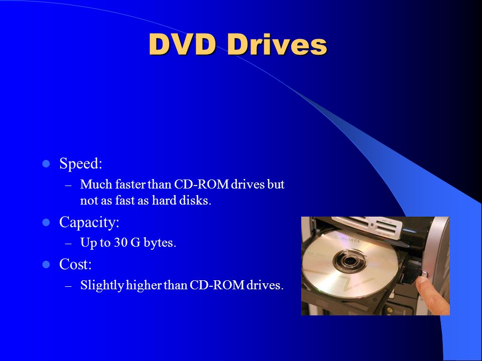 DVD Drives Speed: Capacity: Cost: