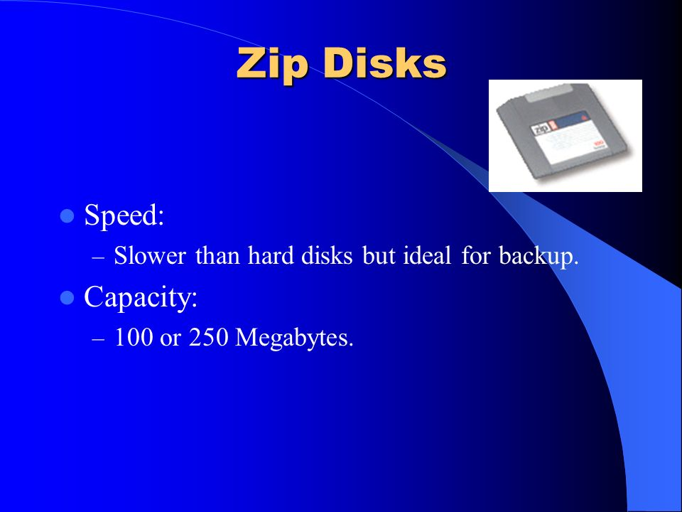 Zip Disks Speed: Capacity: