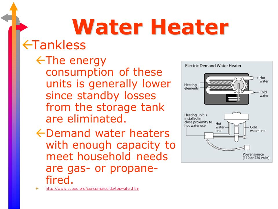 Water Heater Tankless. The energy consumption of these units is generally lower since standby losses from the storage tank are eliminated.