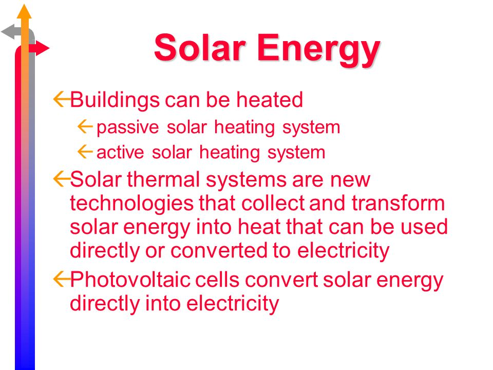 Solar Energy Buildings can be heated