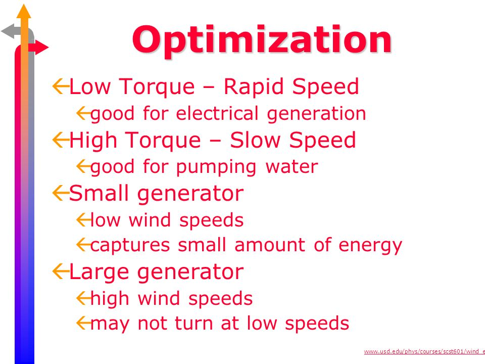 Optimization Low Torque – Rapid Speed High Torque – Slow Speed