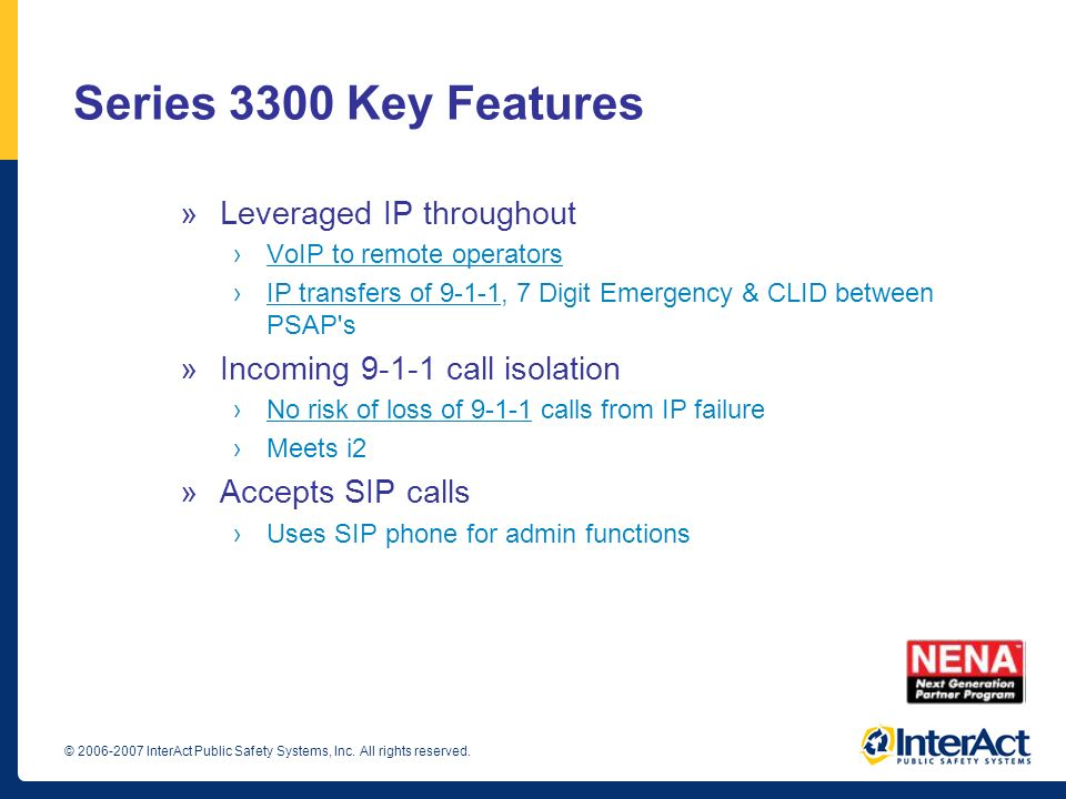 Series 3300 Key Features Leveraged IP throughout