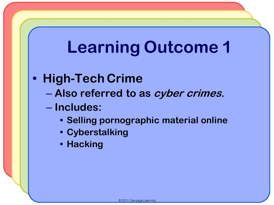 Learning Outcome 1 High-Tech Crime Also referred to as cyber crimes.