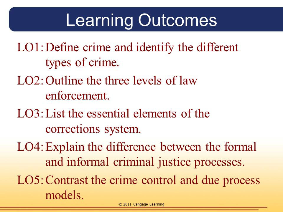 Learning Outcomes LO1: Define crime and identify the different types of crime. LO2: Outline the three levels of law enforcement.