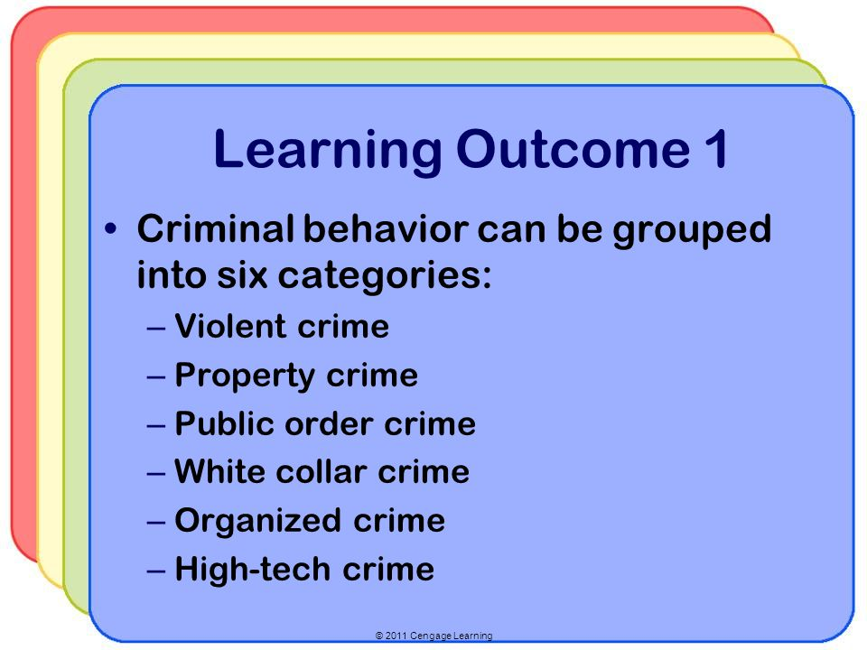 Learning Outcome 1 Criminal behavior can be grouped into six categories: Violent crime. Property crime.