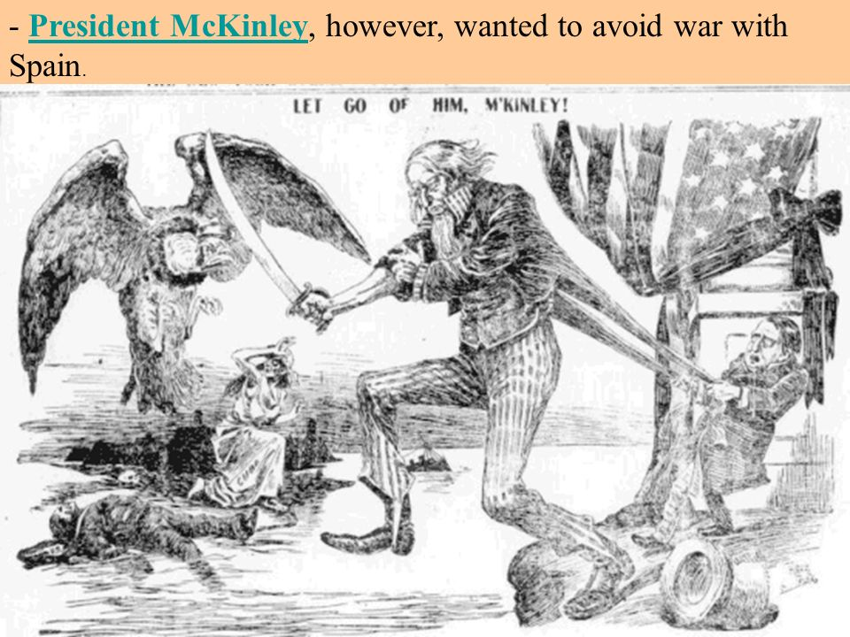 - President McKinley, however, wanted to avoid war with Spain.