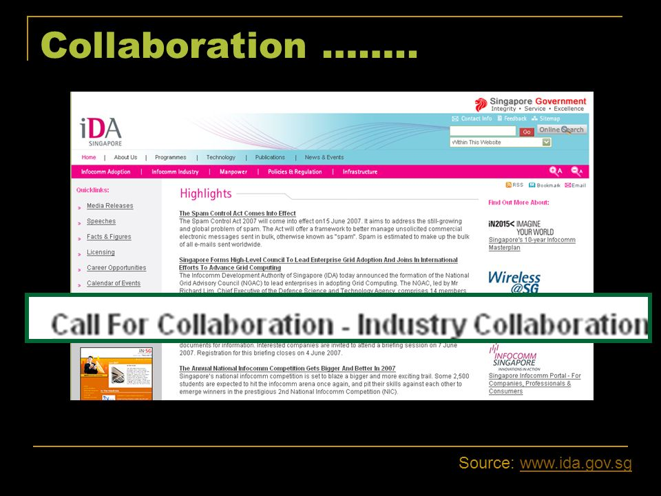 Collaboration …….. Source: www.ida.gov.sg