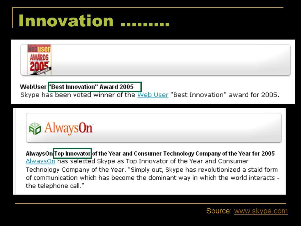 Innovation ……… Source: www.skype.com