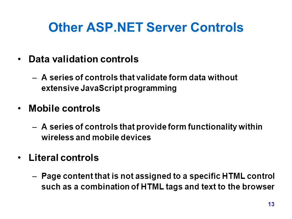 Other ASP.NET Server Controls
