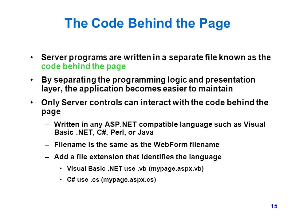The Code Behind the Page