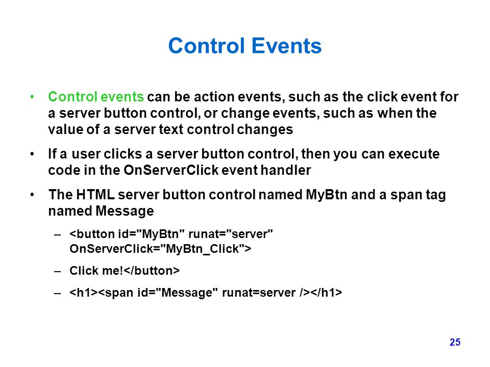 Control Events