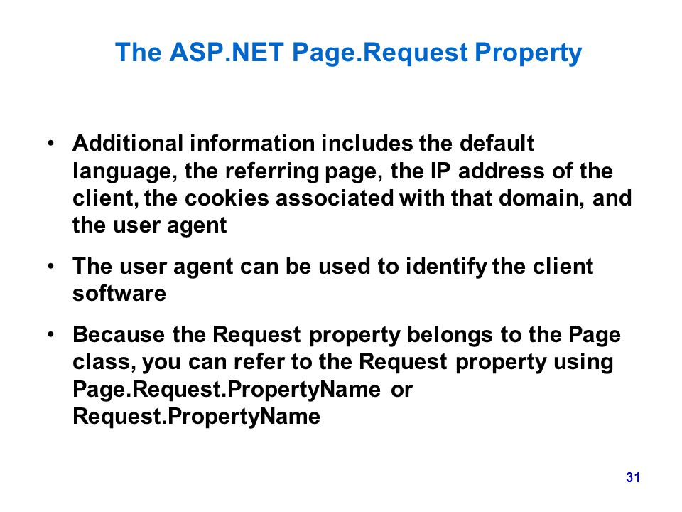 The ASP.NET Page.Request Property