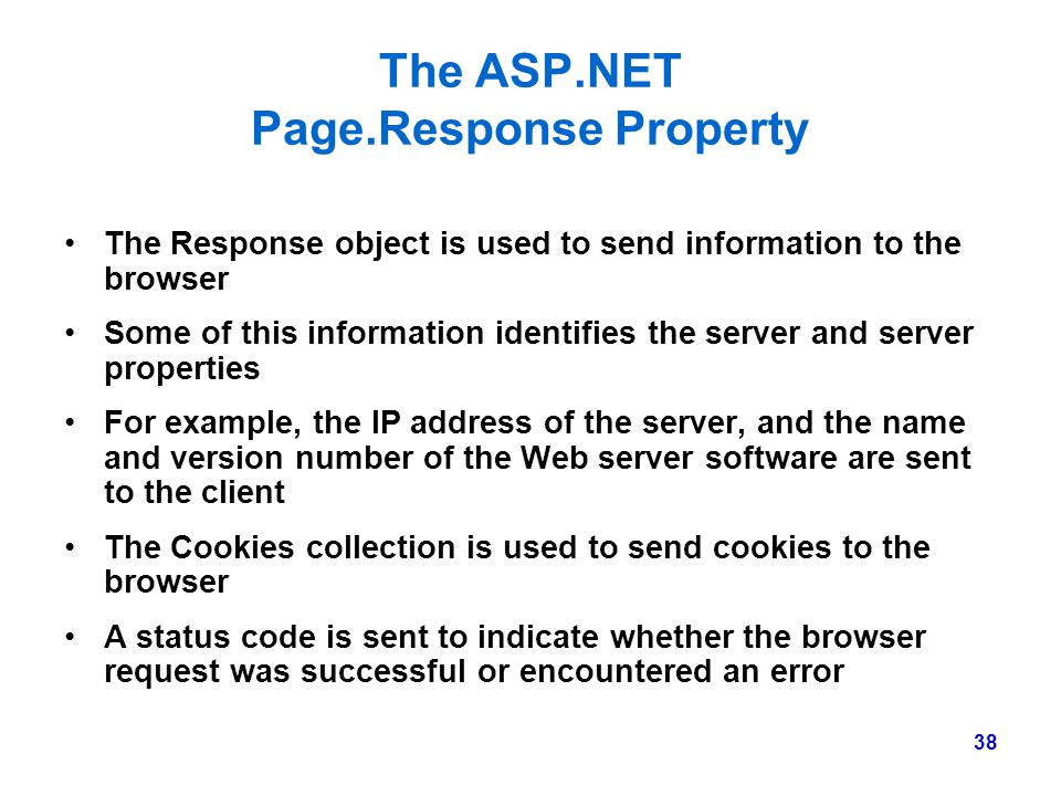 The ASP.NET Page.Response Property