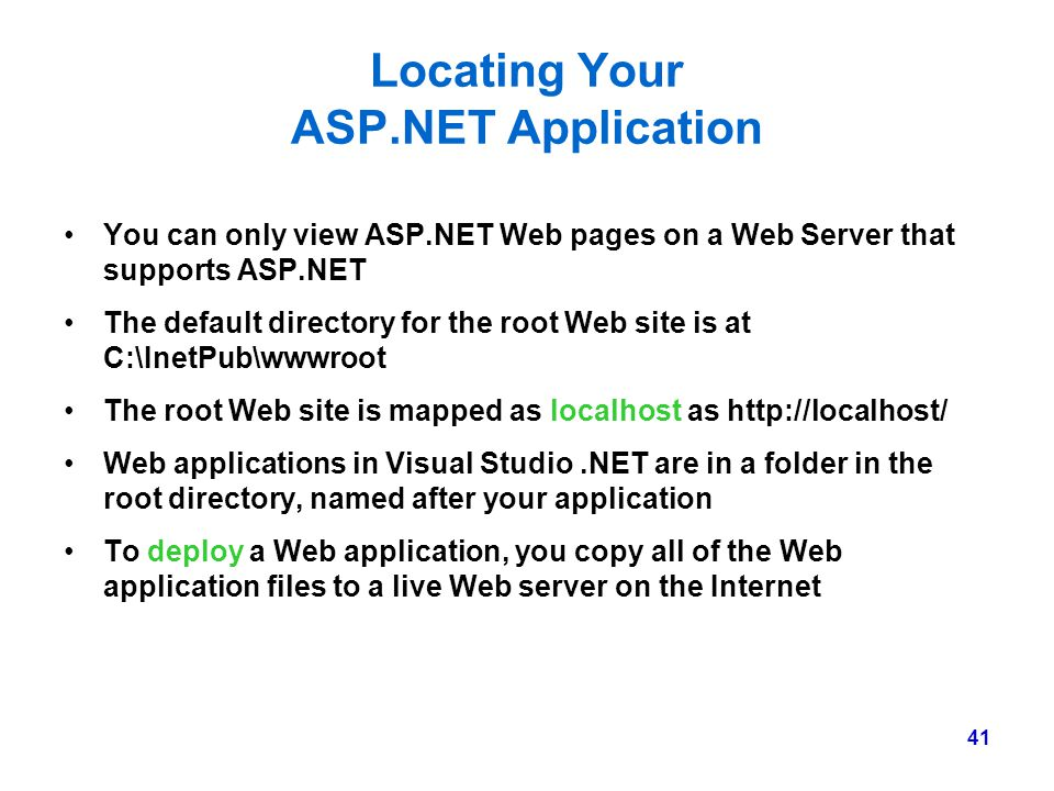 Locating Your ASP.NET Application