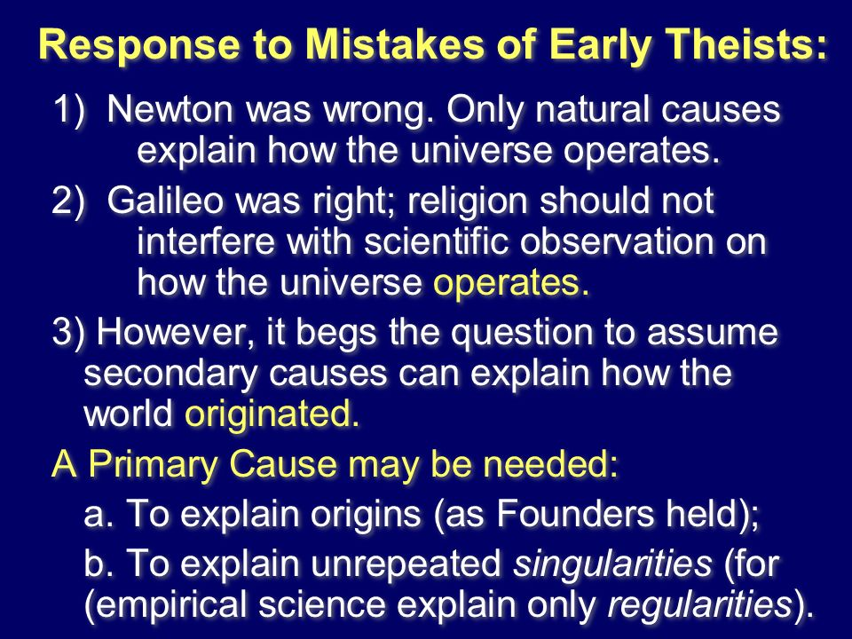 Response to Mistakes of Early Theists: