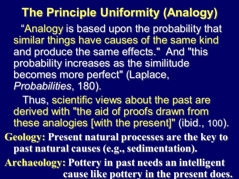 The Principle Uniformity (Analogy)