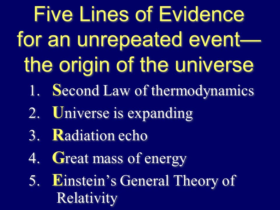 Five Lines of Evidence for an unrepeated event— the origin of the universe