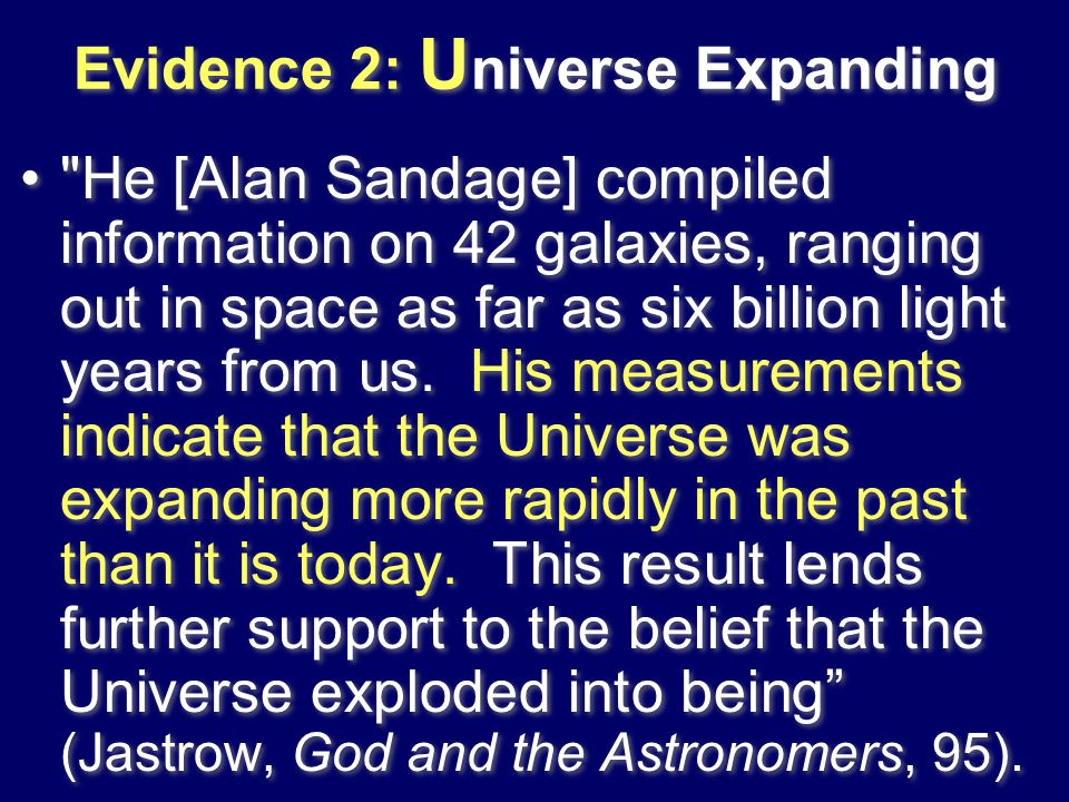 Evidence 2: Universe Expanding