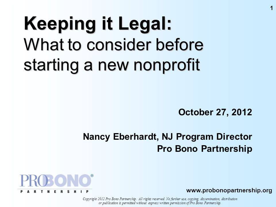 Keeping it Legal: What to consider before starting a new nonprofit
