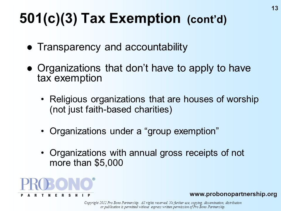 501(c)(3) Tax Exemption (cont'd)