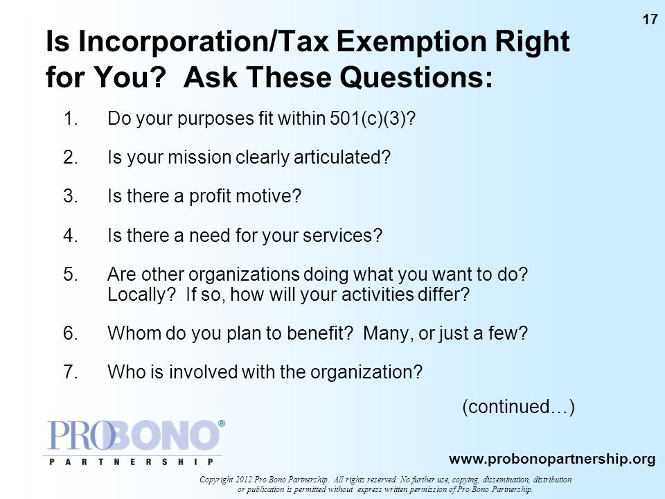Is Incorporation/Tax Exemption Right for You Ask These Questions: