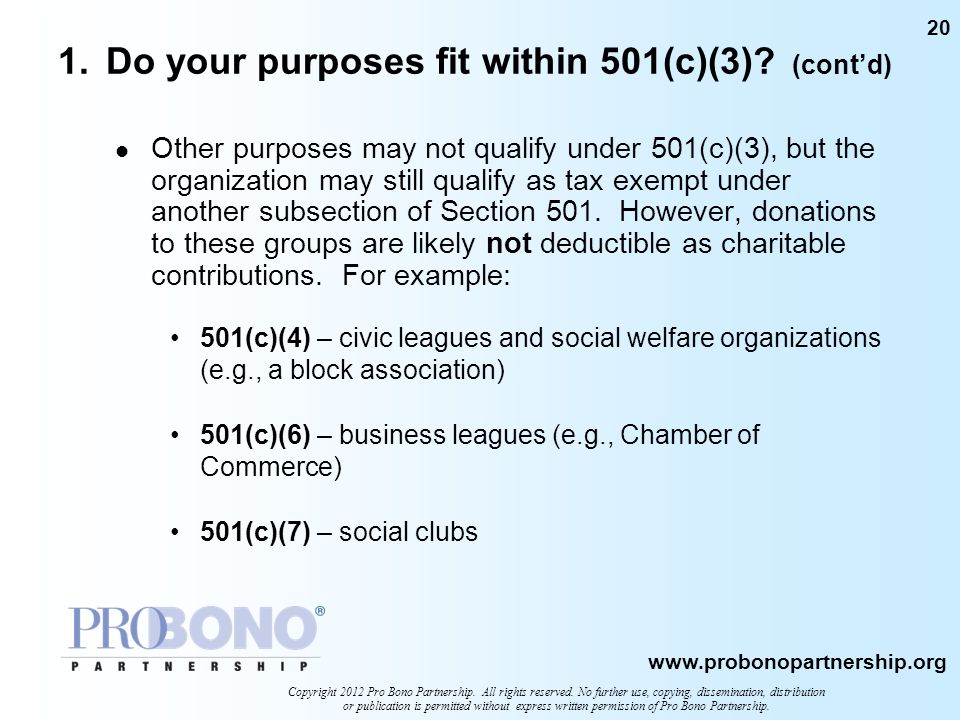 1. Do your purposes fit within 501(c)(3) (cont'd)
