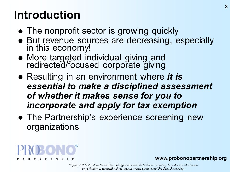 Introduction The nonprofit sector is growing quickly