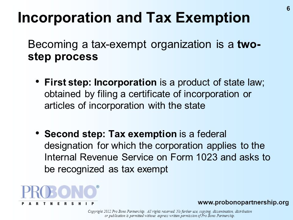 Incorporation and Tax Exemption