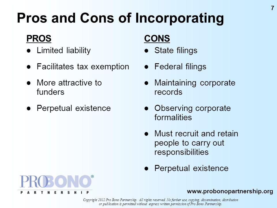 Pros and Cons of Incorporating