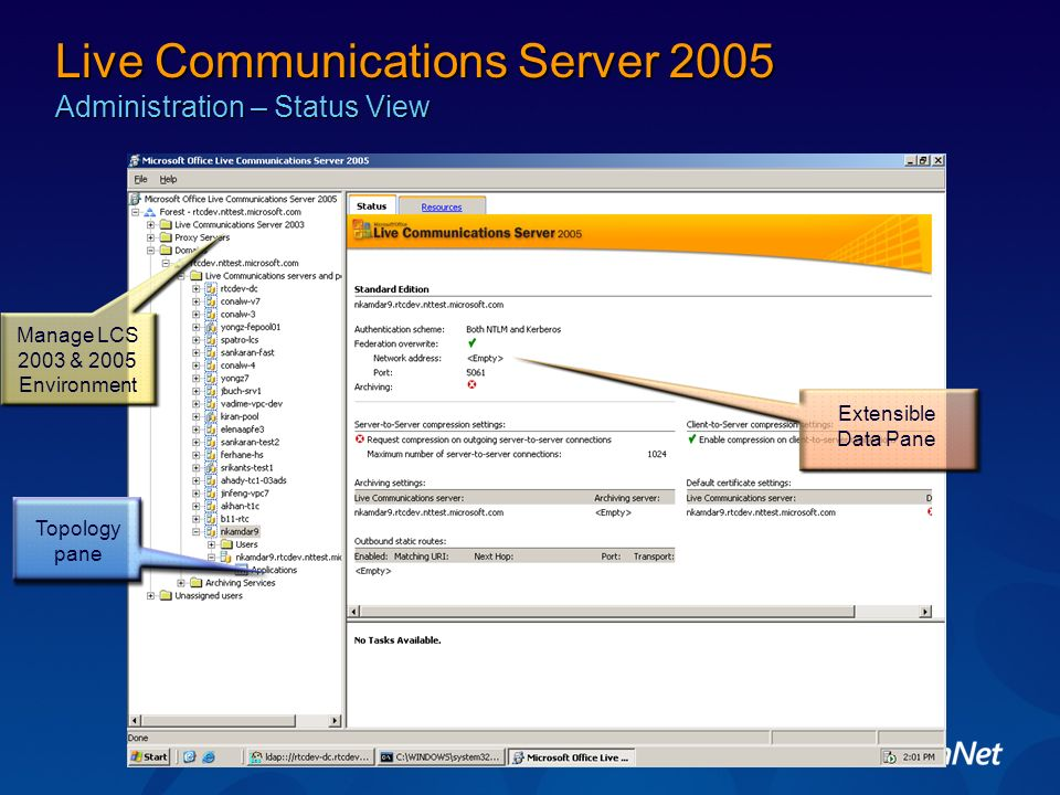 Live Communications Server 2005 Administration – Status View