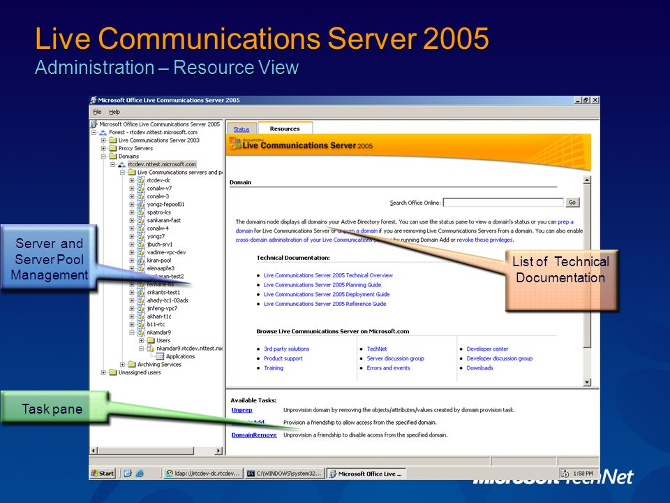 Live Communications Server 2005 Administration – Resource View