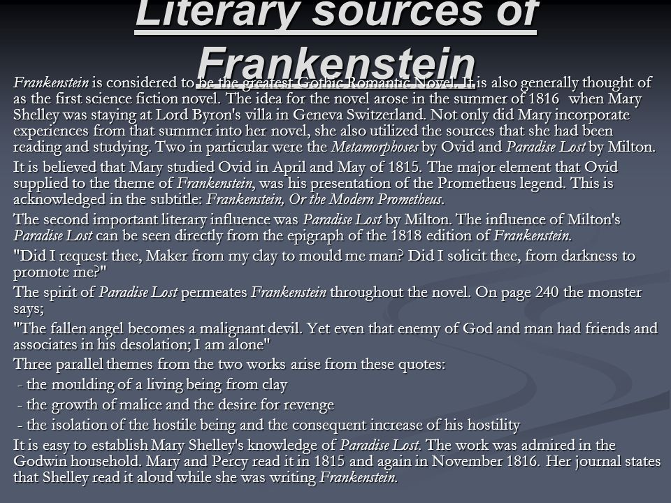 Literary sources of Frankenstein