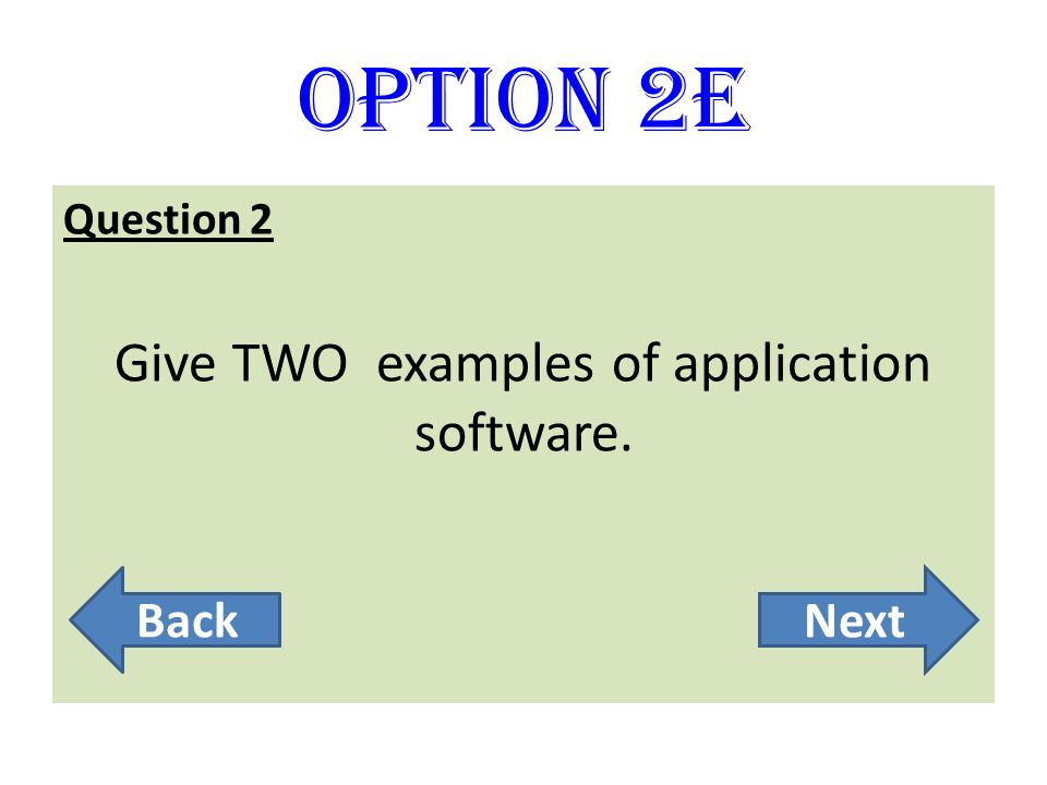 Give TWO examples of application software.