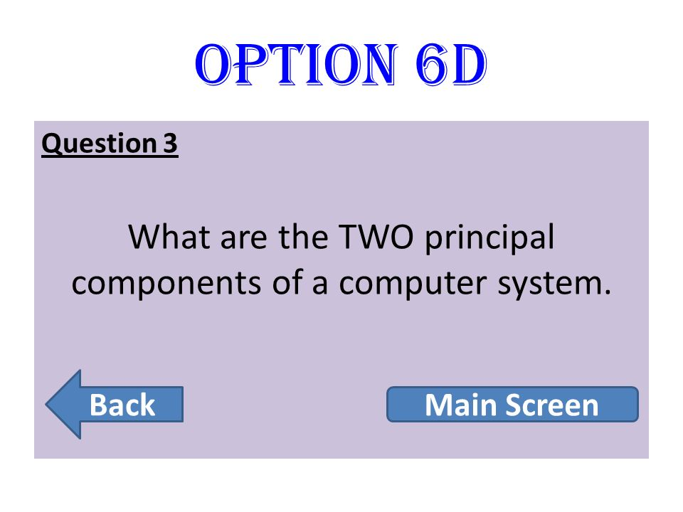 What are the TWO principal components of a computer system.