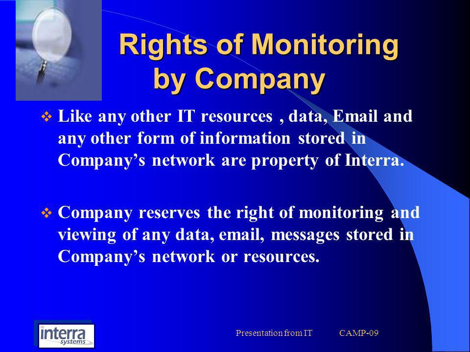 Rights of Monitoring by Company