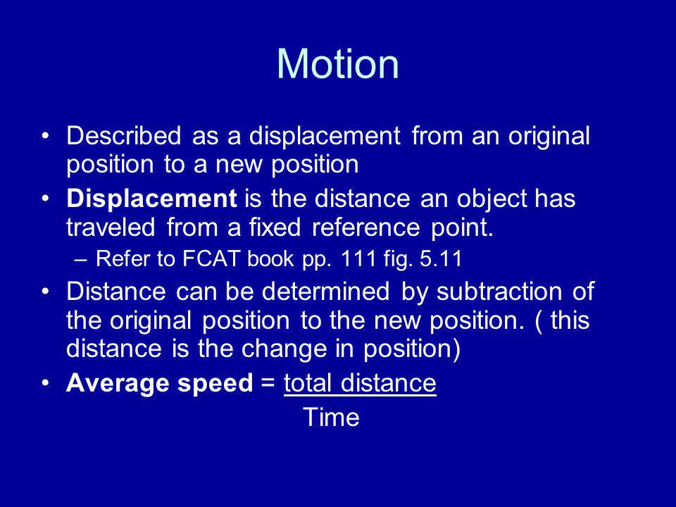 Motion Described as a displacement from an original position to a new position.