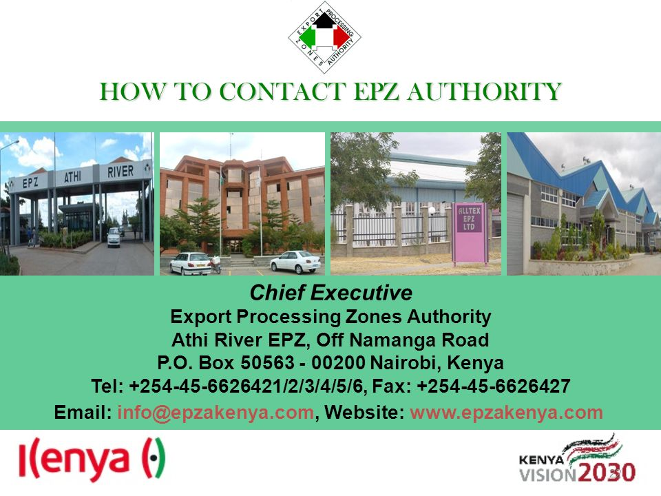 Export Processing Zones Authority Athi River EPZ, Off Namanga Road