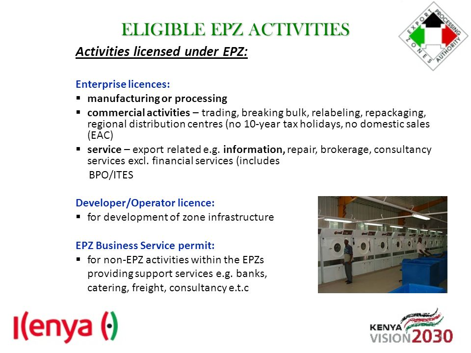 ELIGIBLE EPZ ACTIVITIES