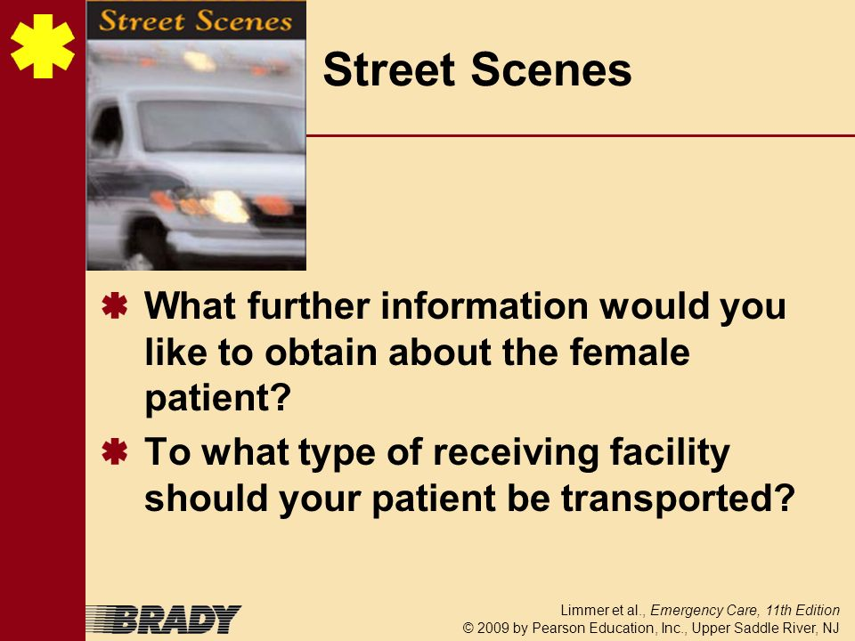 Street Scenes What further information would you like to obtain about the female patient