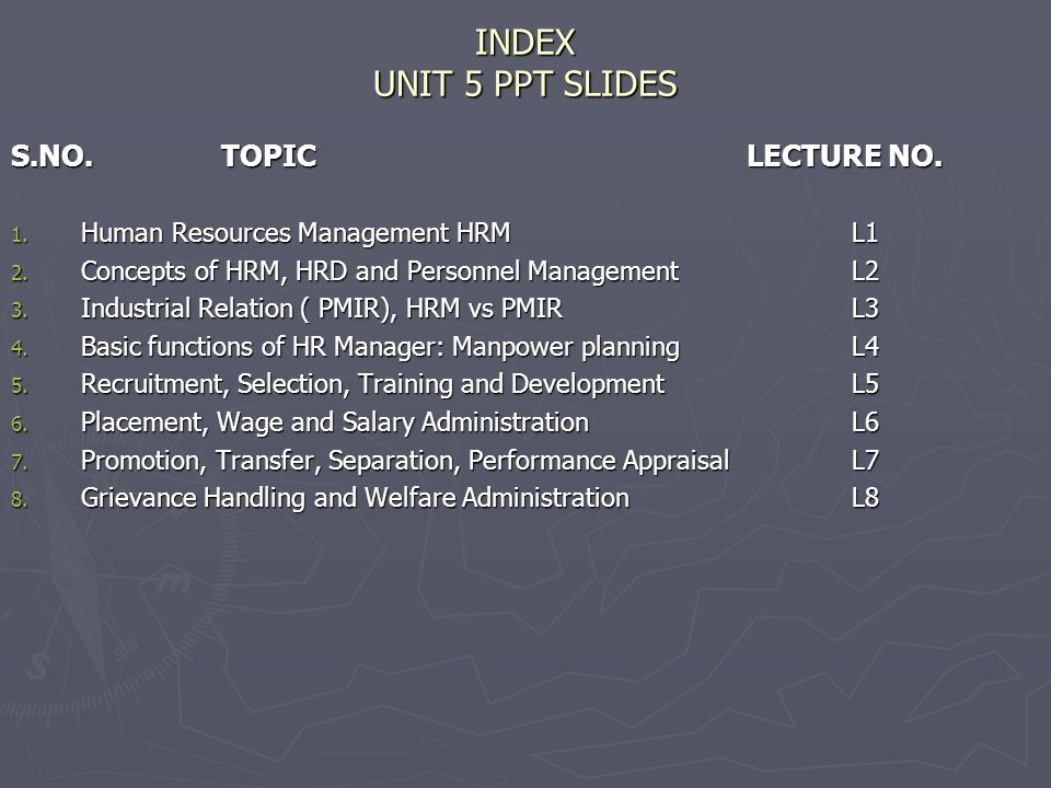 INDEX UNIT 5 PPT SLIDES S.NO. TOPIC LECTURE NO.