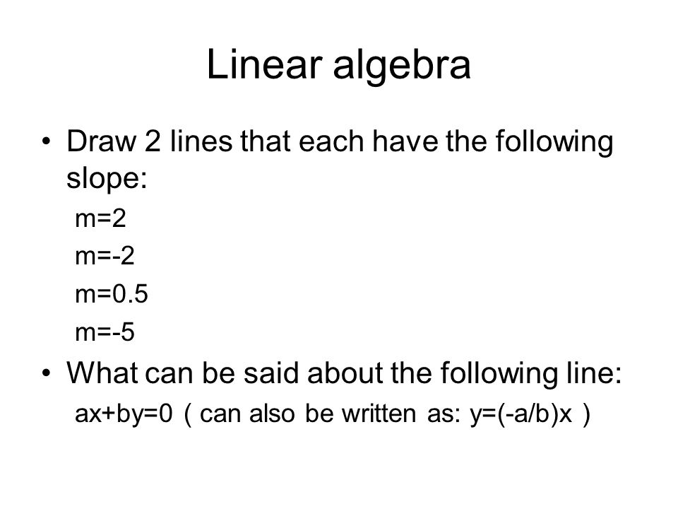 Linear algebra Draw 2 lines that each have the following slope: