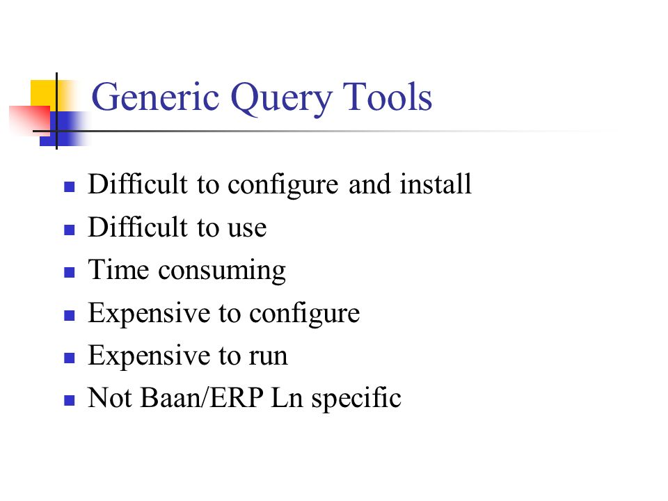 Generic Query Tools Difficult to configure and install