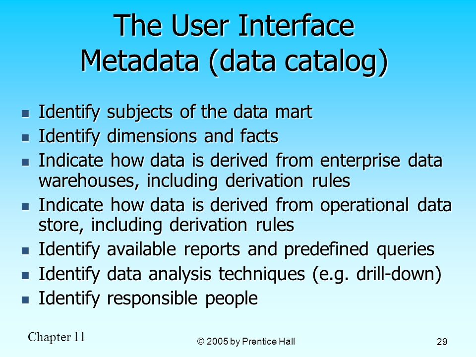 The User Interface Metadata (data catalog)